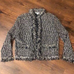ST. John Fringe Black and White Blazer Sweater